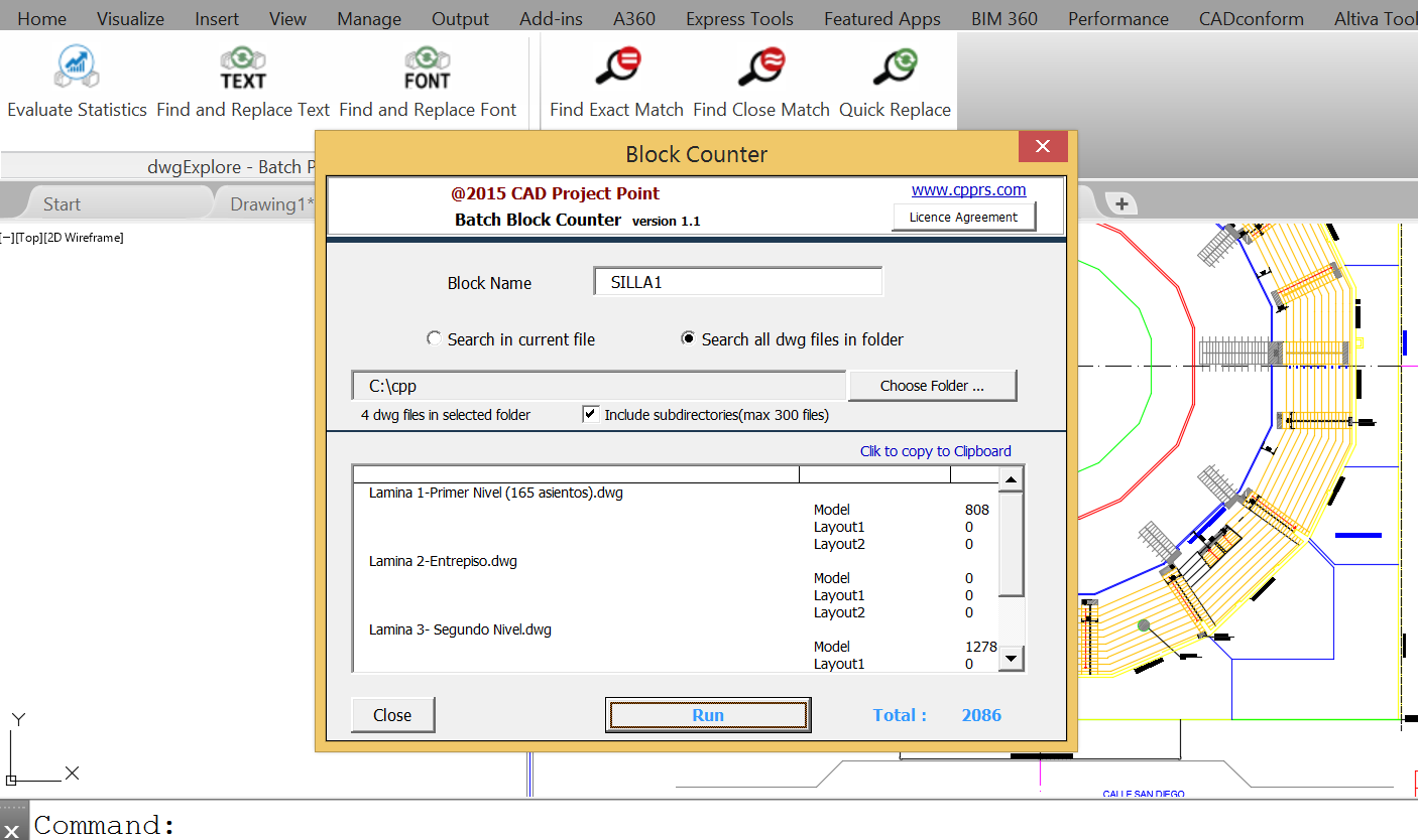 Batch Block Counter - free module used to count blocks in AutoCAD